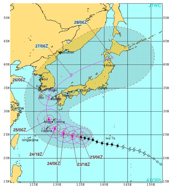 台風12号米軍進路予想